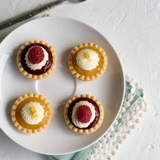 No-Bake Mini Lemon and Mini Raspberry Tarts.