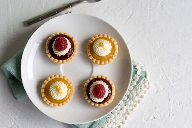 No-Bake Mini Lemon and Mini Raspberry Tarts