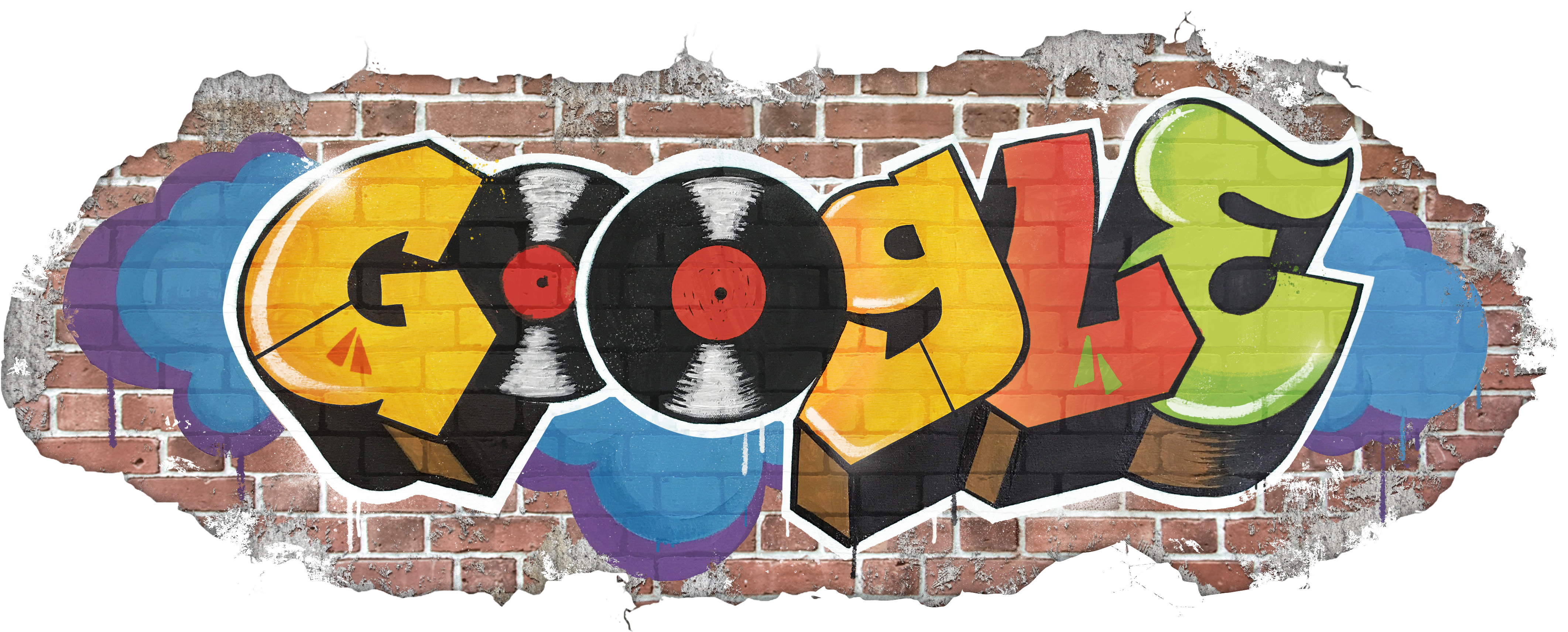 The illustrated Google Doodle showing the Google logo drawn in graffiti style lettering on a brick wall
