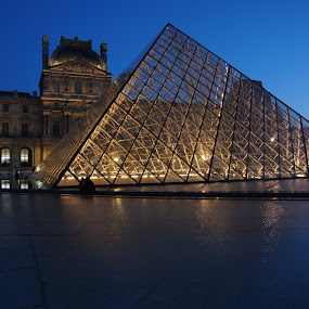 by Pavel Laberko - Buildings & Architecture Public & Historical ( paris, louvre, pwclandmarks, pyramid, reflections, city at night, street at night, park at night, nightlife, night life, nighttime in the city )