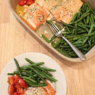 One Pan Baked Salmon & Vegetables.