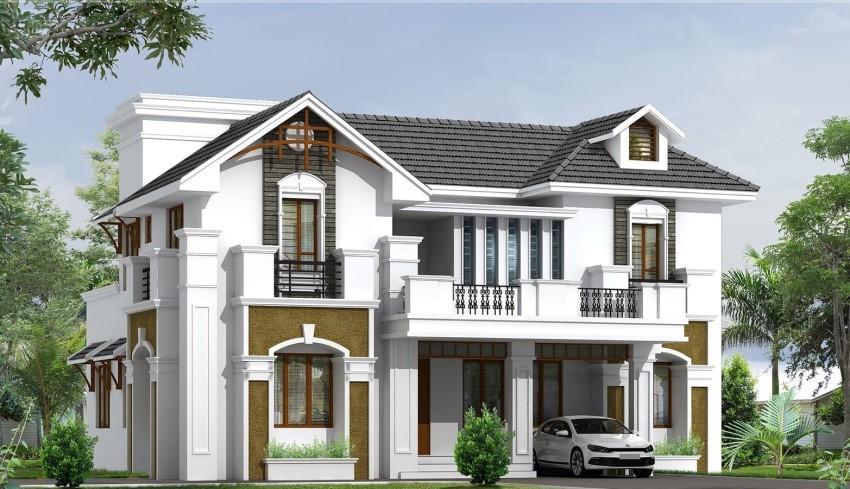 Thiết kế nhà 2 tầng hình vuông sở hữu ưu điểm cả về kiến trúc và phong thủy