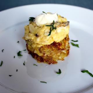 Mushroom Garlic and Parmesan Scrambled Eggs with Hash Browns.