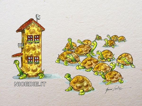 una serie di tartarughe guardano una che al posto del guscio ha una casa di tre piani