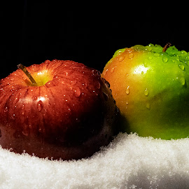 Snow Apples by Christopher Lang - Food & Drink Fruits & Vegetables ( red, green, snow, fruit, winter, apples )