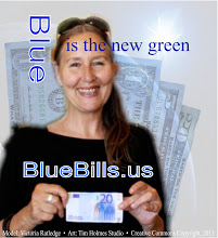 Photo: Victoria Ratledge takes the Blue Bills idea to Europe and the Euro.