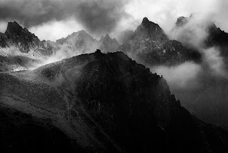 Photo: High Tatras is a gorgeous national park in Slovakia. The Tatras range is smaller than the Alps and the mountains itself are somehow darker. Combine that with a little storm and you get a recipe for a nice black and white shot. Anyway, I love these mountains. Have hiked the whole range numerous times and each time had a blast. The quiet nights up in the mountains and simply unforgettable.  #PlusPhotoExtract #photography #potd #FineArtPls #BWFineArtLE #Monochrome
