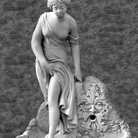 Maiden And The Wind God Black And White by RMC Rochester - Black & White Buildings & Architecture ( abstract, statue, black and white, random, architecture, people,  )