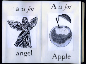Photo: Philippa Robbins - folding book primer - a is for angel; A is for Apple