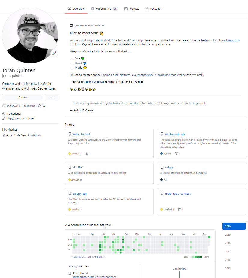 Perfil GitHub de Joran Quinten