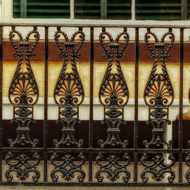 Wrought Iron Railing by Dave Walters - Buildings & Architecture Architectural Detail ( melrose plantation, architectural detail, lumix fz200, wrought iron, colors, natchez )