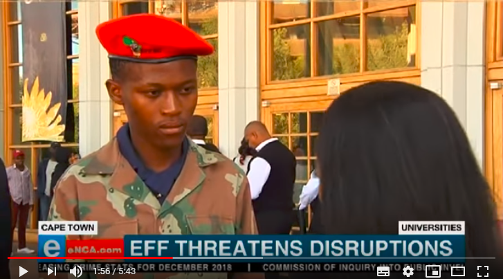 EFF student command secretary at the University of the Western Cape Aseza Mayaphi wearing a SANDF camouflage shirt and red beret on January 21 2018.
