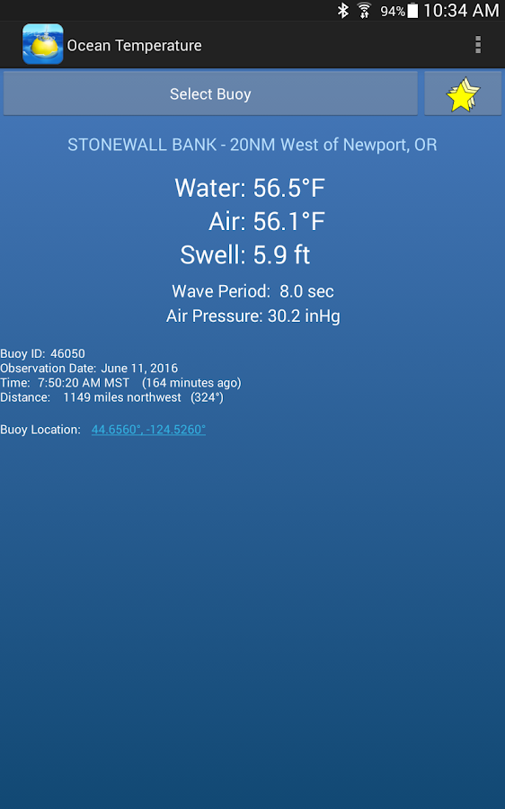 Ocean Temperature & Tides- screenshot
