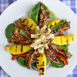 Chicken Teriyaki Salad with Grilled Mango