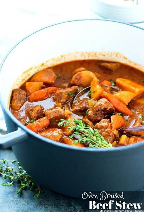"""Oven Braised Beef Stew """"Tummy filling comfort food like this Oven Braised..."""
