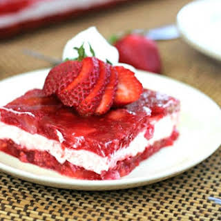 Strawberry-Raspberry Jell-O Whipped Cheesecake Layered Salad.