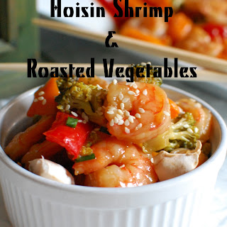 Hoisin Shrimp with Roasted Vegetables.