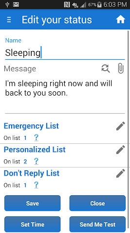 Sleep / Silent Mode / Auto SMS Screenshot