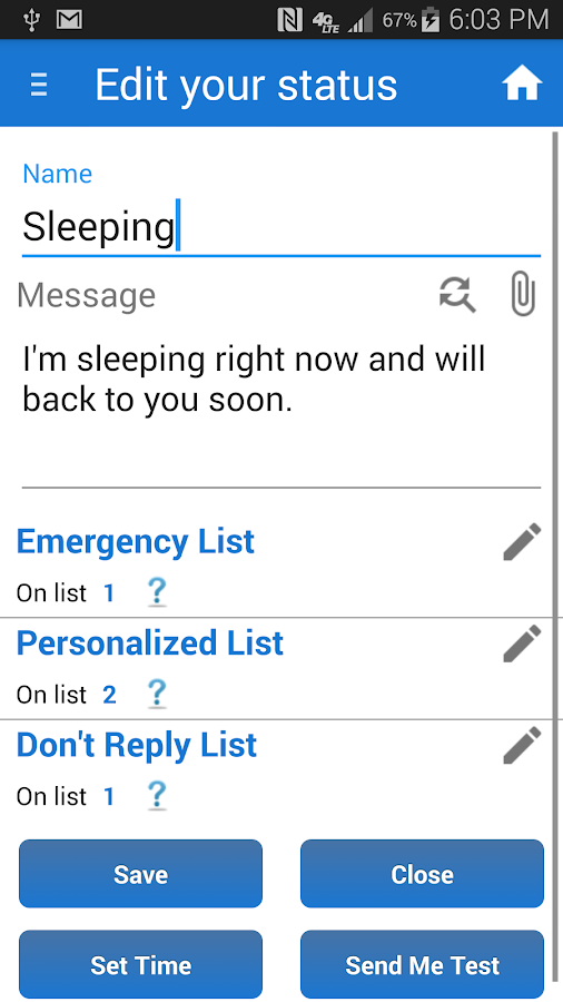 Sleep / Silent Mode / Auto SMS- screenshot