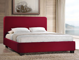 Low Foot end Fabric Bedstead in Red