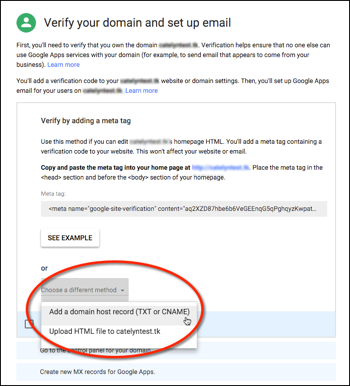 G Suite - Add A Domain Host Record (TXT or CNAME)