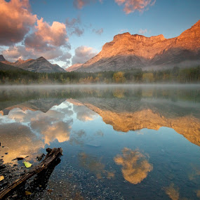 Wedge Pond Sunrise by Dan Warkentin - Landscapes Mountains & Hills ( clouds, water mountain, lake, sunrise, pond )
