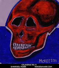 Photo: Calaveras No. 6. 4 in x 4 in x 1/8 in. Acrylic paint on MDF. Sealed with non-yellowing glossy varnish. Signed on the front; title and signature on the back.  Ready to hang – wire threaded through. ©Marisol McKee.