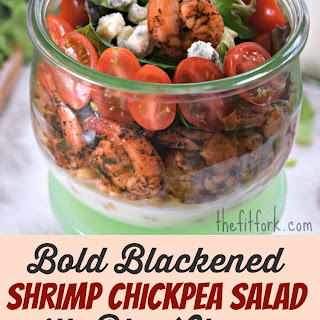 Bold Blackened Shrimp Chickpea Salad with Blue Cheese.