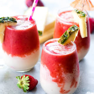 STRAWBERRY PINEAPPLE BANANA LAVA FLOW SMOOTHIE.