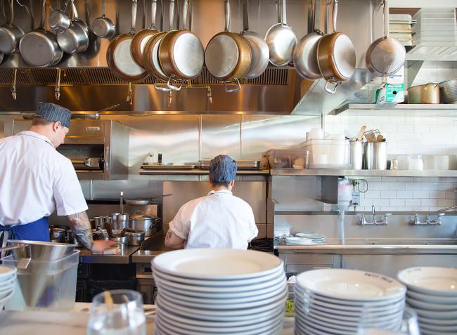 photo of the kitchen at Petit Trois