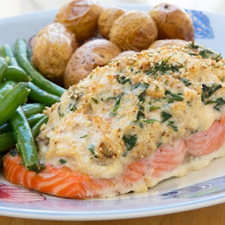 Stuffed Salmon with Cream Cheese and Crabmeat.