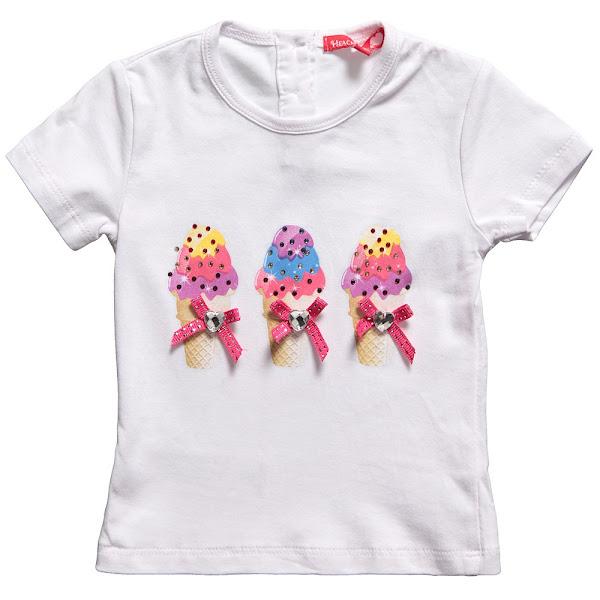 Photo: Silvian Heach  Baby Girls White Cotton Ice-Creams T-Shirt with Diamante http://www.childrensalon.com/girls-white-ice-creams-t-shirt-with-diamante.html  Price: £18 Size range: 6-24 months