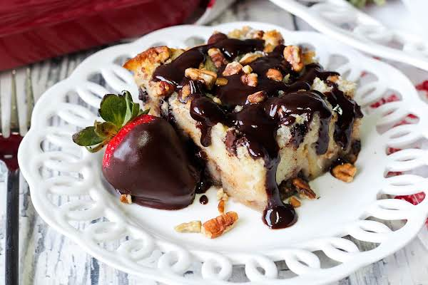 Chocolate Sauce Drizzled Over Debbie's Death By Chocolate Bread Pudding.