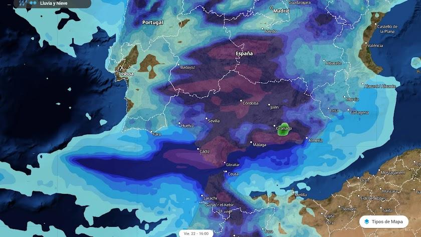 Mapa de situación del tiempo distribuido por Meteored