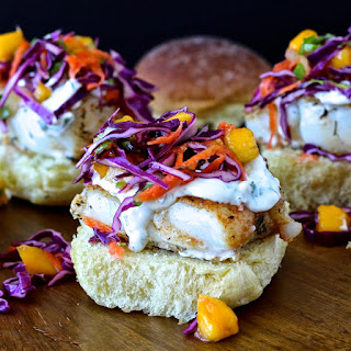Spiced Cod Sliders with Mango Confetti Slaw and Cilantro Aioli