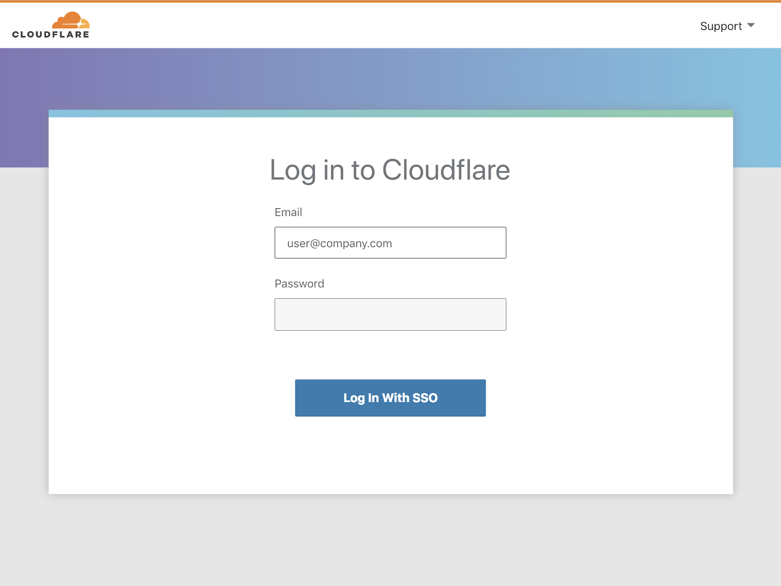 Cloudflare Dashboard Log-in screen with Single Sign-On