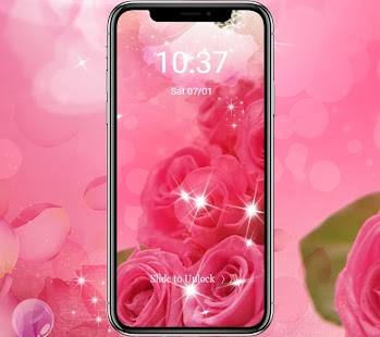 Pink Rose love lock screen theme - náhled