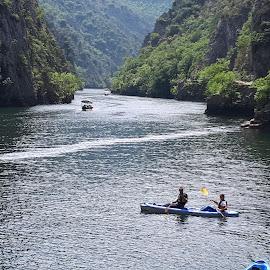 Canoe on canyon Matka by Natasa Dokovska - Nature Up Close Water ( canyon matka, canoe, macedonian beauty )