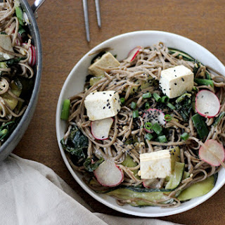 Warm Miso Soba Noodles with Greens and Tofu [Vegan] Recipe