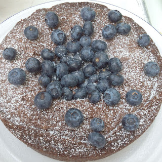 Chocolate, Almond and Blueberry Cake.