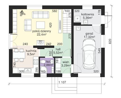 Dom przy Alabastrowej 33 - Rzut parteru