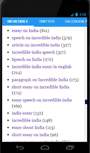 Essay On Business  Incredible India Screenshot  Thesis For Compare And Contrast Essay also Essay About English Language Incredible India Apk Download  Apkpureco Essays On Health