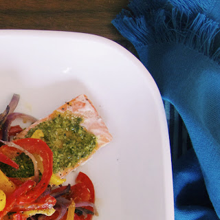 Baked Salmon With Kale Pesto And Bell Peppers