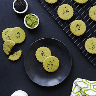 Grain-free Matcha Orange Blossom Shortbread with Black Sesame Seeds {Gluten-free, Paleo with Vegan Options}