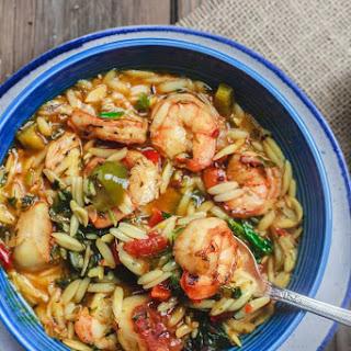 Mediterranean Shrimp Orzo Soup.