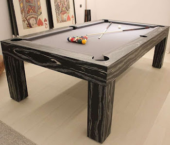 Ebony Black & White Veneer on pool  table