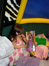 Photo: the bday girl holds the Jasmine doll Kaleya got her