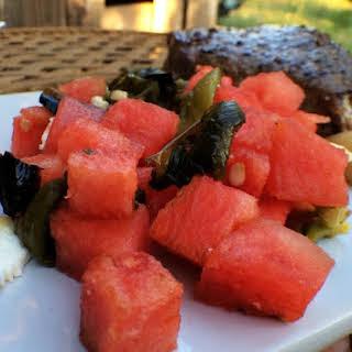 Roasted Poblano-Watermelon Salsa with feta.