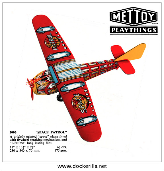 "Photo: ""Space Patrol"" Aeroplane / Airplane 2006, Mettoy, Great Britain. Extracts from the catalogue supplement for 1953.  Visit my blog - Collecting Tin Toys at  http://tinplatetoys.blogspot.co.uk/"