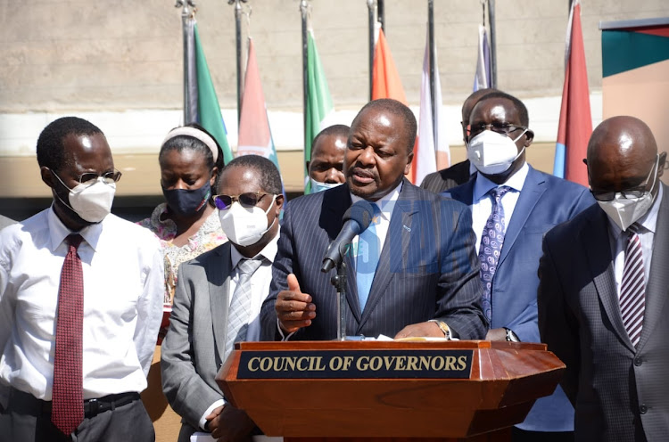 Health CS Mutahi Kagwe addresses journalist after meeting governors on the roll out of the COVID-19 Vaccine in the counties at Delta Towers, Nairobi on March 10th 2021